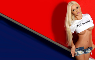 katya sambuca, sexy, blonde, sweet, big bobs, red, blue, underboob