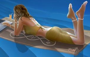 3d, brunette, girl, bikini, art, virtual babe