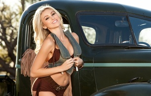 khloe terae, blonde, playboy, model, 32d-24-35, cowgirl, ford, pickup, short shorts, denim jacket, hi-q