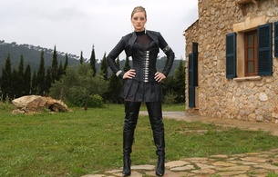 lady ann, blonde, german, mistress, milf, long hair, sexy babe, amateur, model, posing, outdoor, sexy dressed, black, leather, bolero jacket, corset, miniskirt, crotch boots, fetish babe, hi-q, ann, babes in boots