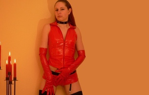 young, redhead, german, cam girl, amateur, adult model, sexy babe, long hair, posing, sexy dressed, red, shiny, pvc, lingerie, top, panty, gloves, erotic, homemade, photoshoot, fetish babe