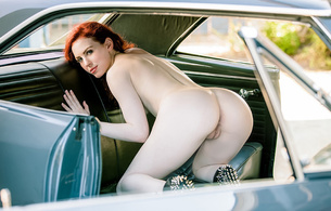 haydn porter, playboy, model, nude, redhead, car, bent over, pussy, red hair