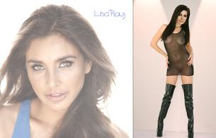 lisa ray, brunette, stilettos, overknee boots, lingerie, seethru