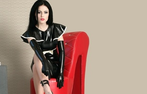 domina blackdiamoond, brunette, german, real life, mistress, domina, sexy babe, long hair, posing, sitting, tight clothes, latex, minidress, gloves, dominant, pose, erotic, fetish babe, own cut, minimalist wall