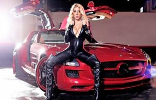 model, blonde, latex, fetish, mercedes, gullwing, big tits, spread legs, valeria orsini, posing, sitting, shiny, black, lycra, catsuit, hot, decollete, overknee, leather, high boots, fetish babe, mercedes-benz, amg