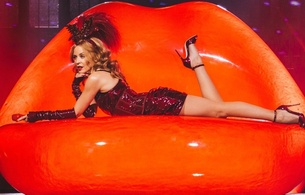 kylie minogue, australian, celebrity, singer, actress, blonde, tiny, hot, milf, long hair, on stage, sexy, dressed, red, shiny, pvc, minidress, gauntlets, fishnet, pantyhose, legs, high heels, erotic, red lips, kylie, real celebs wall, fetish