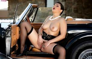 valentina nappi, pussy, tits, stockings, classic car, black, brunette, nipples, interior