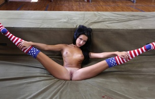 model, nude, 4th of july, socks, pussy, boobs, floor, american flag, tan lines