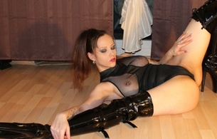ewa, brunette, german, cam girl, amateur, model, slim, sexy babe, long hair, posing, laying, spread wide, lingerie, body, shiny, overknee, plateau boots, cameltoe, red lips, flexible, fetish babe, piercing, pvc, high, spandex-princess