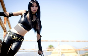 amateur, black, brunette, cosplay, cosplayer, fantasy, fetish babe, hi-q, leggings, long hair, lycra, model, outdoor, posing, sexy babe, shiny, slim, teen, tight clothes, top, young