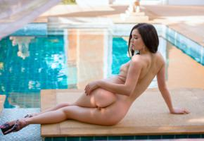ass, back, black cherry, brunette, legs, malena f, malena fendi, nakes, pool