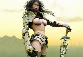 armor, boobs, fantasy, sword, tits, warrior