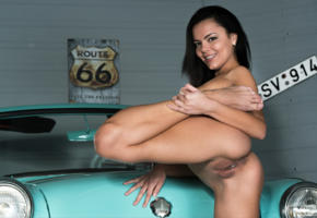 ass, brunette, car, naked, sasha l, sexy, skinny, flexable, pussy