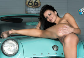 ass, brunette, car, naked, pussy, sasha l, sexy, skinny, small tits