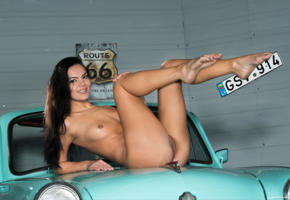 ass, boobs, brunette, car, naked, pussy, sasha l, sexy, skinny, small tits
