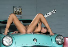 brunette, car, naked, pussy, sasha l, sexy, shaved pussy, spreading legs