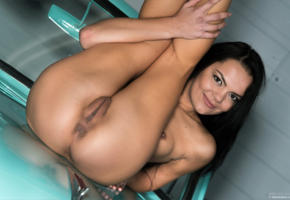 brunette, car, legs, nude, pussy, sasha l, sexy, shaved pussy, small tits, tits