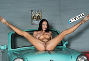 brunette, car, naked, pussy, sasha l, sexy, shaved pussy, small tits, spreading legs, tits