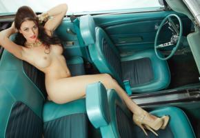 big tits, brunette, car, hard nipples, high heels, jade elizabeth, legs, model, naked, playboy model