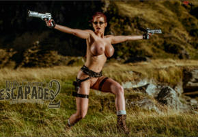 bianca beauchamp, big boobs, guns, lara croft, out door, red head