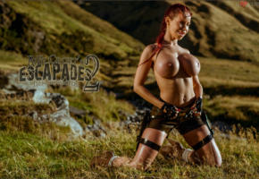 bianca beauchamp, big boobs, guns, lara croft, on her knee, red head, fake tits, big tits, tits, boobs