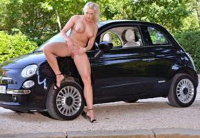 blonde, boobs, car, fiat, high heels, labia, naked, pussy, shaved pussy, tits, vicktoria redd