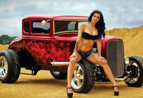 1930, big tits, brunette, ford, hot rod, legs, model, model a, non nude, red, tattoo