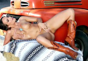 ass, brunette, cowgirl, ford, labia, naked, pierced navel, shaved pussy, spread, spread legs, teal conrad, tits, truck