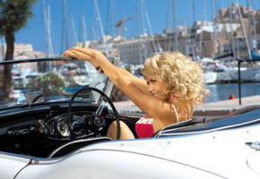 blonde, cabrio, car, curls, girl, kinga, sexy, smile, tetyana veryovkina