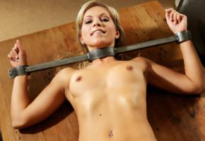 bdsm, blonde, bondage, fetish, hard nipples, hi-q, jenni gregg, naked, pierced navel, shackles, tits