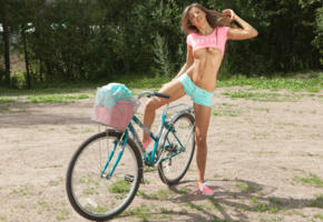 bicycle, bike, boobs, burnette, hi-q, maria, maria ryabushkina, melena, natural beauty, semi nude, shorts, tara, tits out, top up, topless, cutoff shorts, tanned, daisy dukes, outdoors, jean shorts, cutoffs