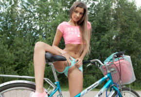 bicycle, bike, brunette, flashing, hi-q, long hair, maria, maria ryabushkina, melena, playful, poppin some lip, semi naked, shaved pussy, shorts, tara, top, natural beauty, healthy legs