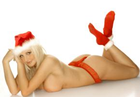 ass, boobs, michelle marsh, red, santa babe, santa hat, sexy, socks, thong, white, xmas