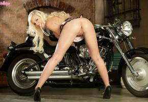 ass, bike, black, blonde, heels, model, pearls, pussy, sexy