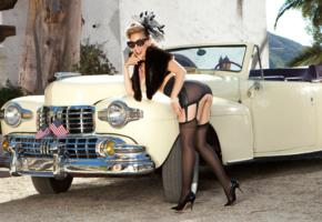 ass, blonde, car, chanel elle, convertible, garter belt, high heels, lingerie, model, nylons, playboy, retro, vintage