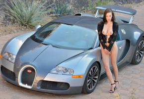 big tits, brunette, bugatti, car, madi meadows, semi niked