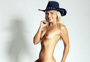 beautiful tits, blonde, blue eyes, cowgirl, hard nipples, hat, jenni a, jenni czech, jenni gregg, jenni kohoutova, jenni p, lucie kralickova, naked, pierced navel, small tits, smile