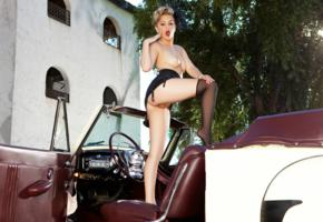 ass, blonde, chanel elle, garter belt, labia, nylons, playboy, retro, semi naked, shaved pussy, tits, vintage car