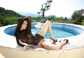 brunette, eugenia diordiychuk, jenya d, katie fey, legs, pool, swimsuit, yevgeniya diordiychuk, playboy, playmate of the year