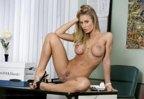 blonde, boobs, high heels, naked, nicole aniston, spreading legs, trimmed pussy