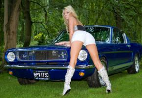 blonde, boots, hi-q, natalia forrest, nipple, shorts, 1965 mustang