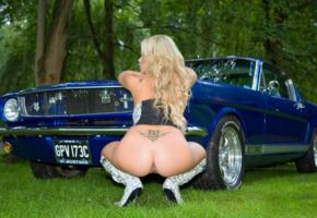 ass, blonde, hi-q, naked, natalia forrest, shaved pussy, tattoo, 1965 mustang
