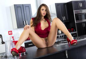 brunette, long hair, semi nude, spread legs, high heels, trimmed pussy, labia, kitchen, allie haze, spreading legs, pussy, haired pussy