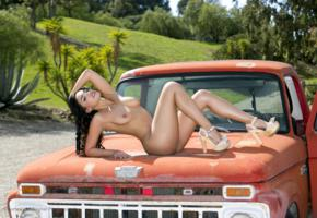 selena santana, outdoors, brunette, long hair, naked, boobs, nipples, high heels, beauty, belle, sexy, car, ford