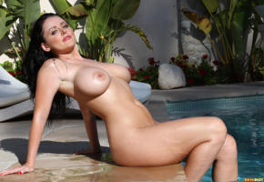 sophie dee, pool, outdoors, big tits, boobs, brunette, wet, busty