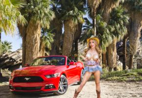 katie banks, blonde, mustang, forrest, cowgirl, big tits, shaved pussy, boots, car