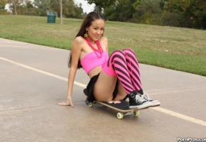 amai liu, asian, teen, skateboard