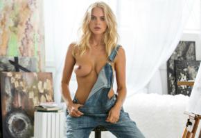 rachel harris, blonde, playboy, modell, topless, overalls, tits, jeans