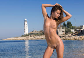 raisa, lily c, guerlain, brunette, small tits, trimmed pussy, beach, hi-q, natalia e, wet, lighthouse