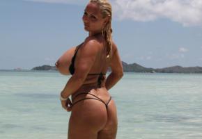 big tits, milf, public, blonde, beach